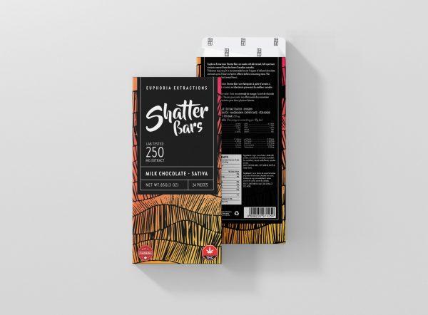Euphoria Extractions 250mg Indica THC Milk Chocolate Shatter Bars 1