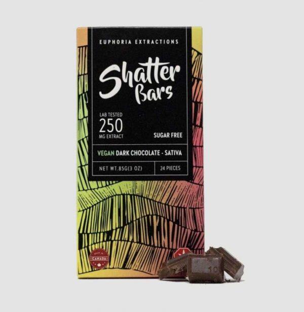 THC-Chocolate-Edibles-Euphoria-Extractions-250mg-Sativa-Vegan-Dark-Chocolate-Shatter-Bar-1